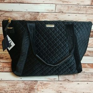 Adrienne Vittadini Large Velvet Quilted Duffle Bag